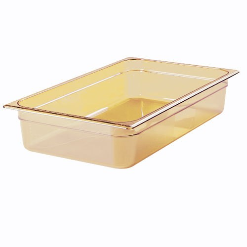 "Rubbermaid FG232P00AMBR Full Size Amber High Heat Food Pan - 6"" De"